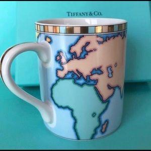 Tiffany & Co. Bone China World Map Mug with Gold